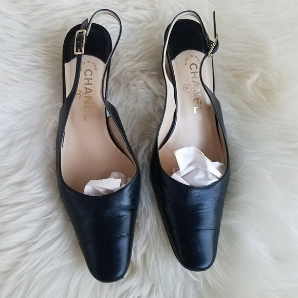 9e8e7e67b8a6 CHANEL Shoes - AUTHENTIC CHANEL CAP TOE SLINGBACK WEDGED HEELS